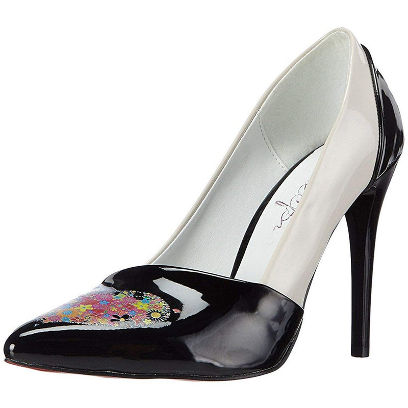 White and Black Patent Leather Heel Shoes RGS153 (770223046752)