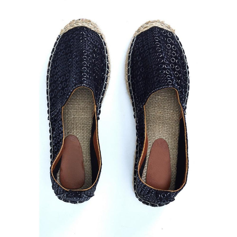 Black Leather Espadrille Shoes SAN407 (1332763197536)