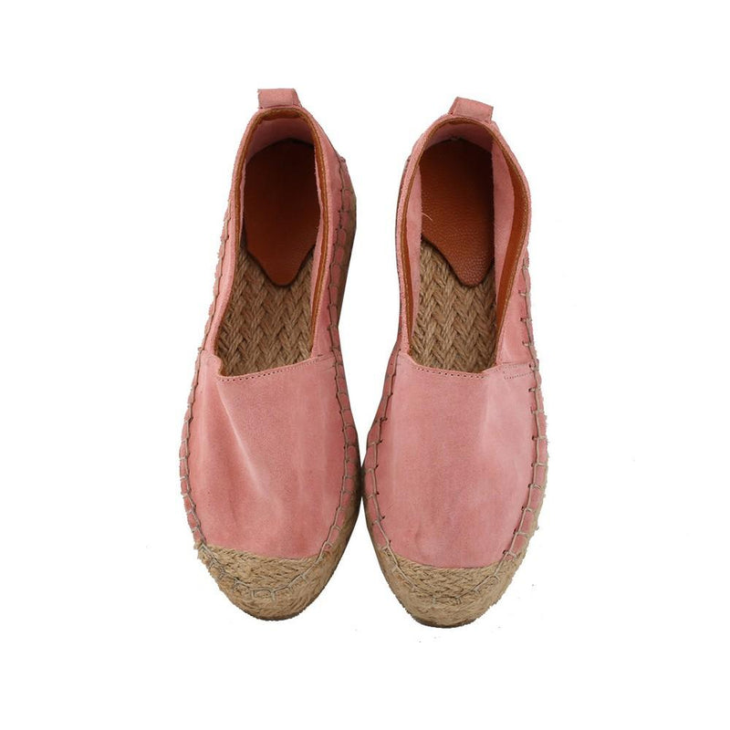 Pink Suede Leather Espadrille Shoes SAN501 (1332763394144)