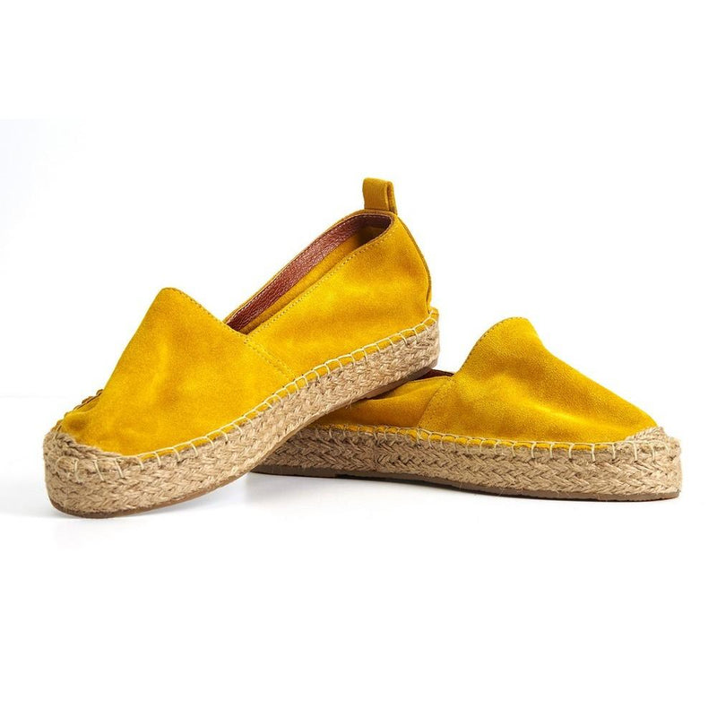 Yellow Suede Leather Espadrille Shoes SAN506 (1332762050656)