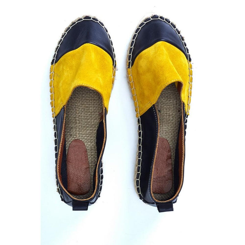 Yellow and Black Leather Espadrille Shoes SAN507 (1332763525216)