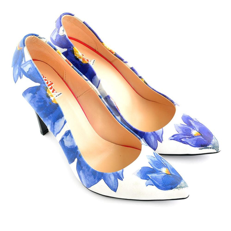 Blue Flowers Heel Shoes STL4403 (506277429280)