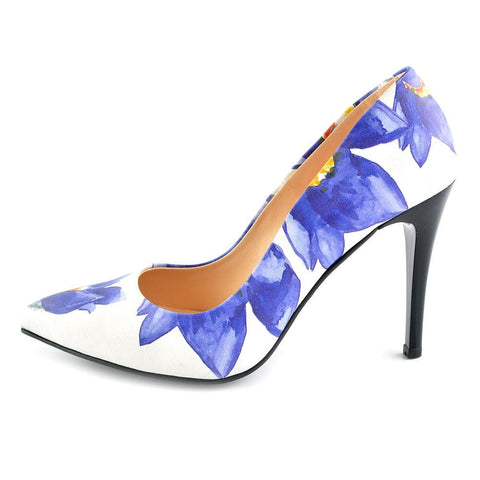 Blue Flowers Heel Shoes STL4403, Goby, GOBY Heel Shoes