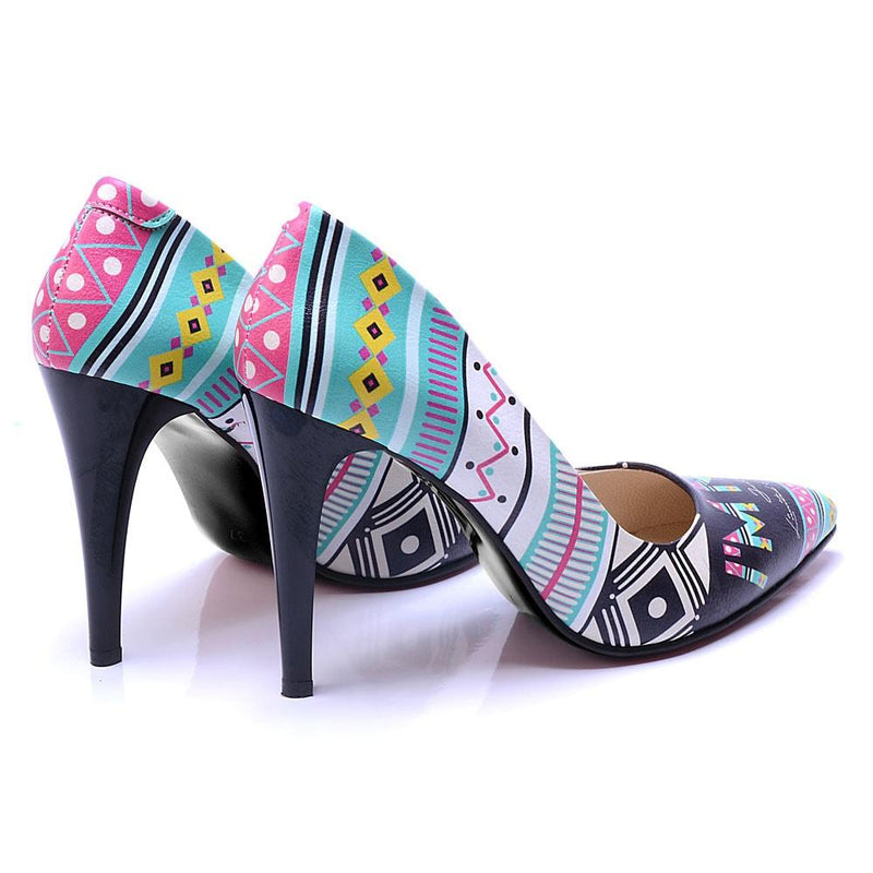 Blue Pattern Heel Shoes STL4407 (506277593120)