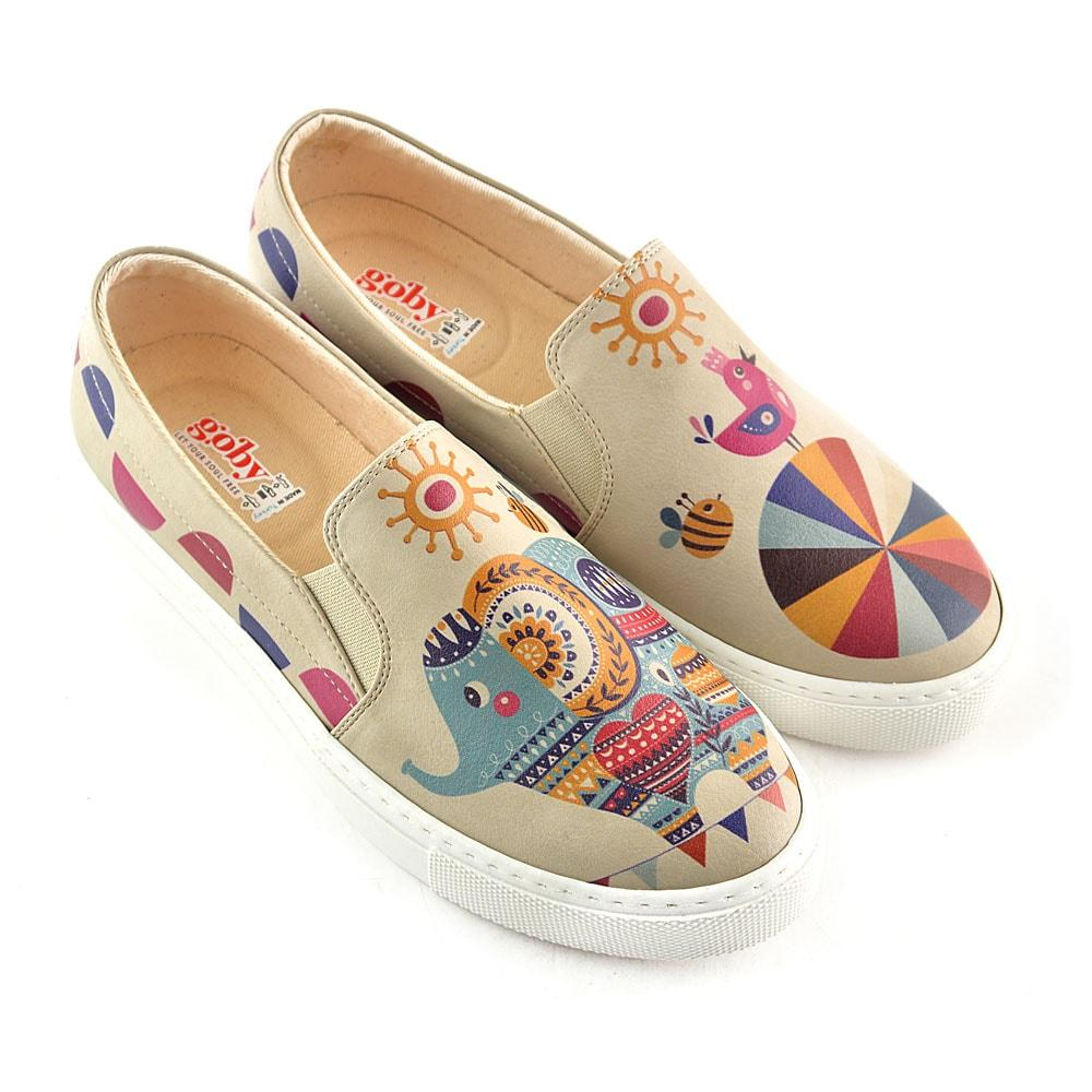 Colors and Elephant Slip on Sneakers Shoes VN4039 - Goby GOBY Slip on Sneakers Shoes