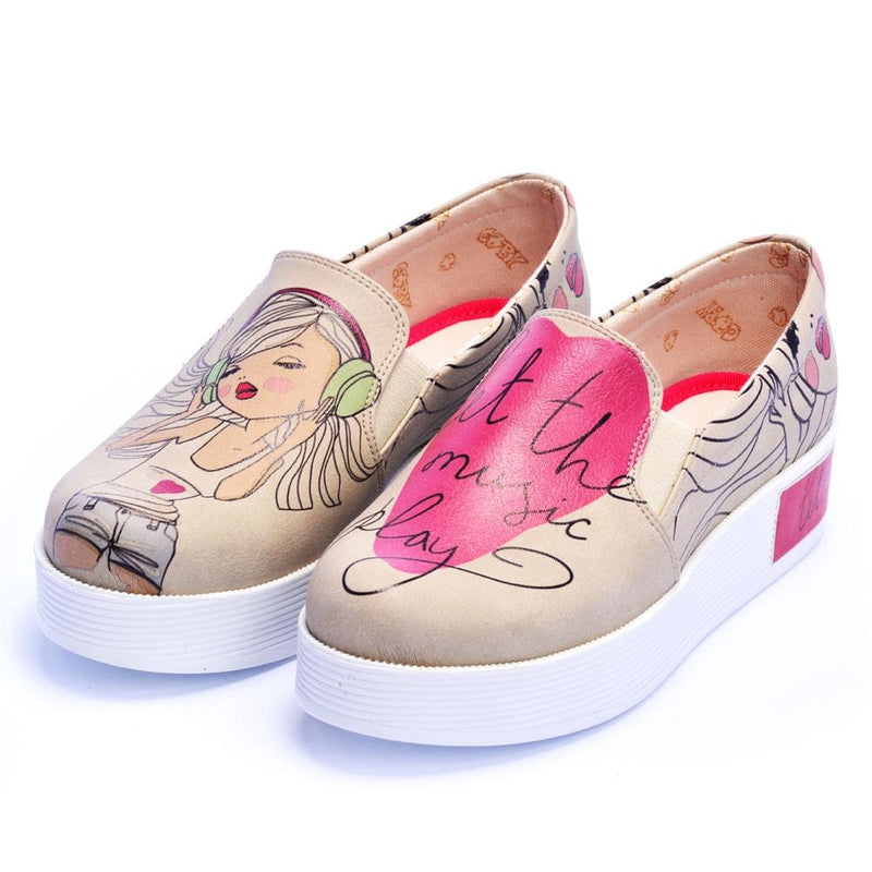 Let the Music Play Slip on Sneakers Shoes VN4219 (506280411168)