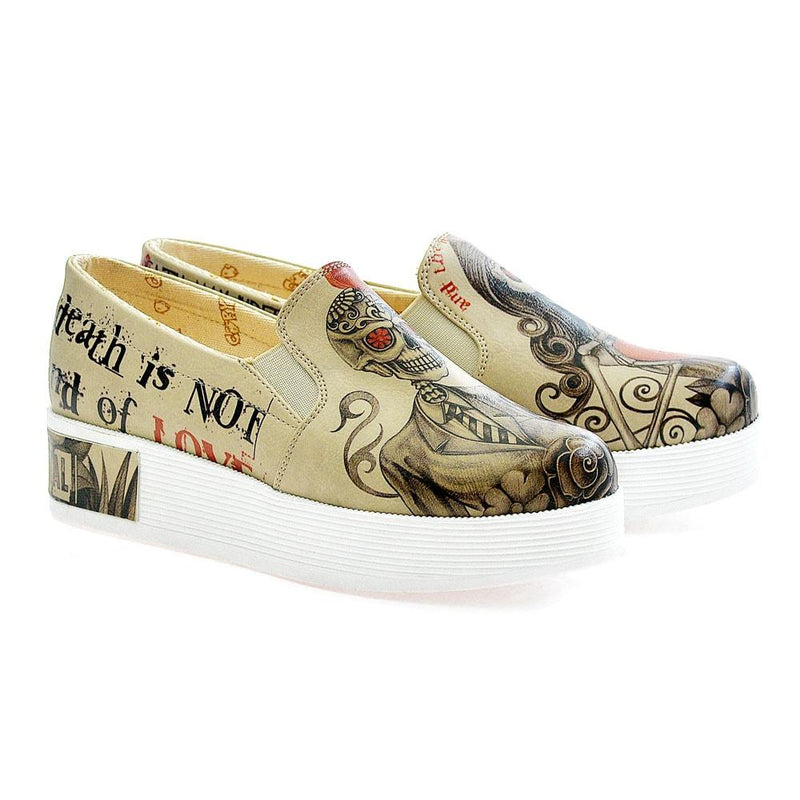 Death is Not End of Love Slip on Sneakers Shoes VN4222 (506280476704)