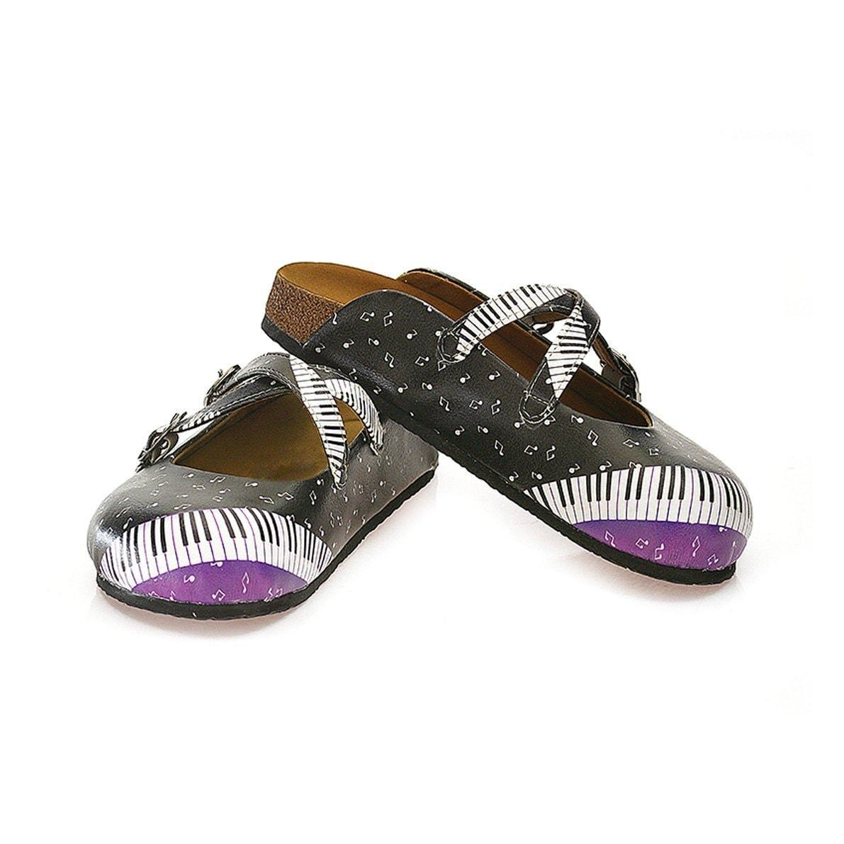 Black Piano Notes Clogs WCAL115, Goby, CALCEO Clogs