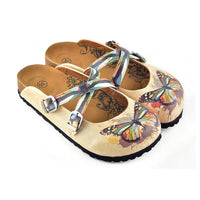 Tan Rainbow Butterfly Clogs WCAL119