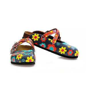 Blue Floral Cross-Strap Clogs WCAL129, Goby, CALCEO Clogs