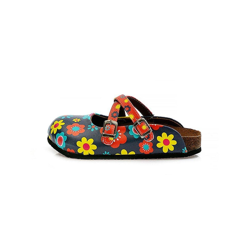 Blue Floral Cross-Strap Clogs WCAL129 (737673085024)