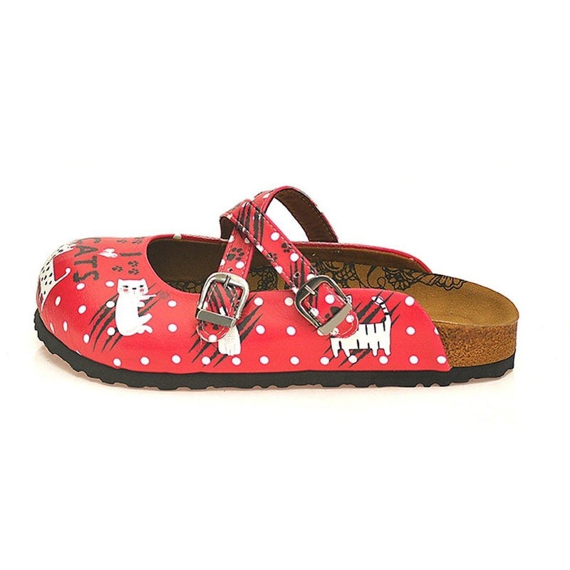 Red I Love Cats Cross-Strap Clogs WCAL132 (737699561568)