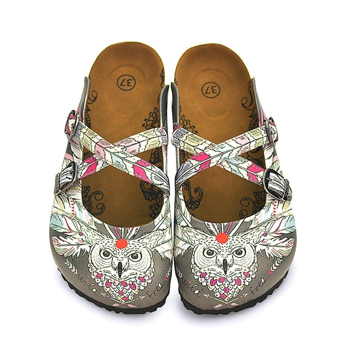 Gray Wild Free Owl Cross-Strap Clogs WCAL133 - Goby CALCEO Clogs