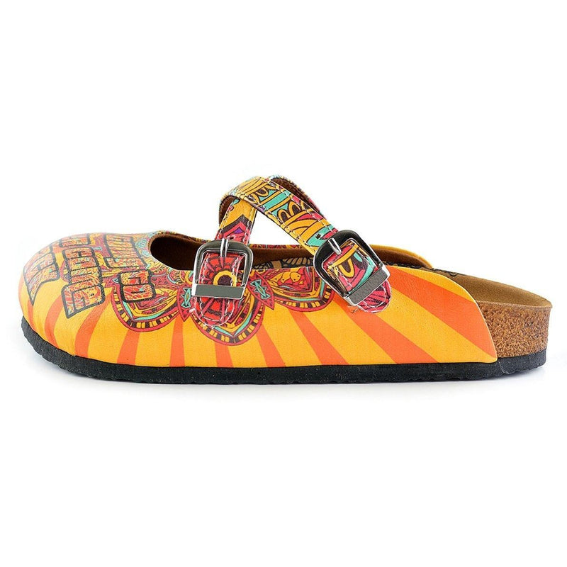 Yellow & Red Peace Sign Cross-Strap Clogs WCAL134 (737672822880)