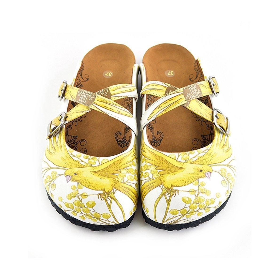 Yellow & White Bird Cross-Strap Clogs WCAL135