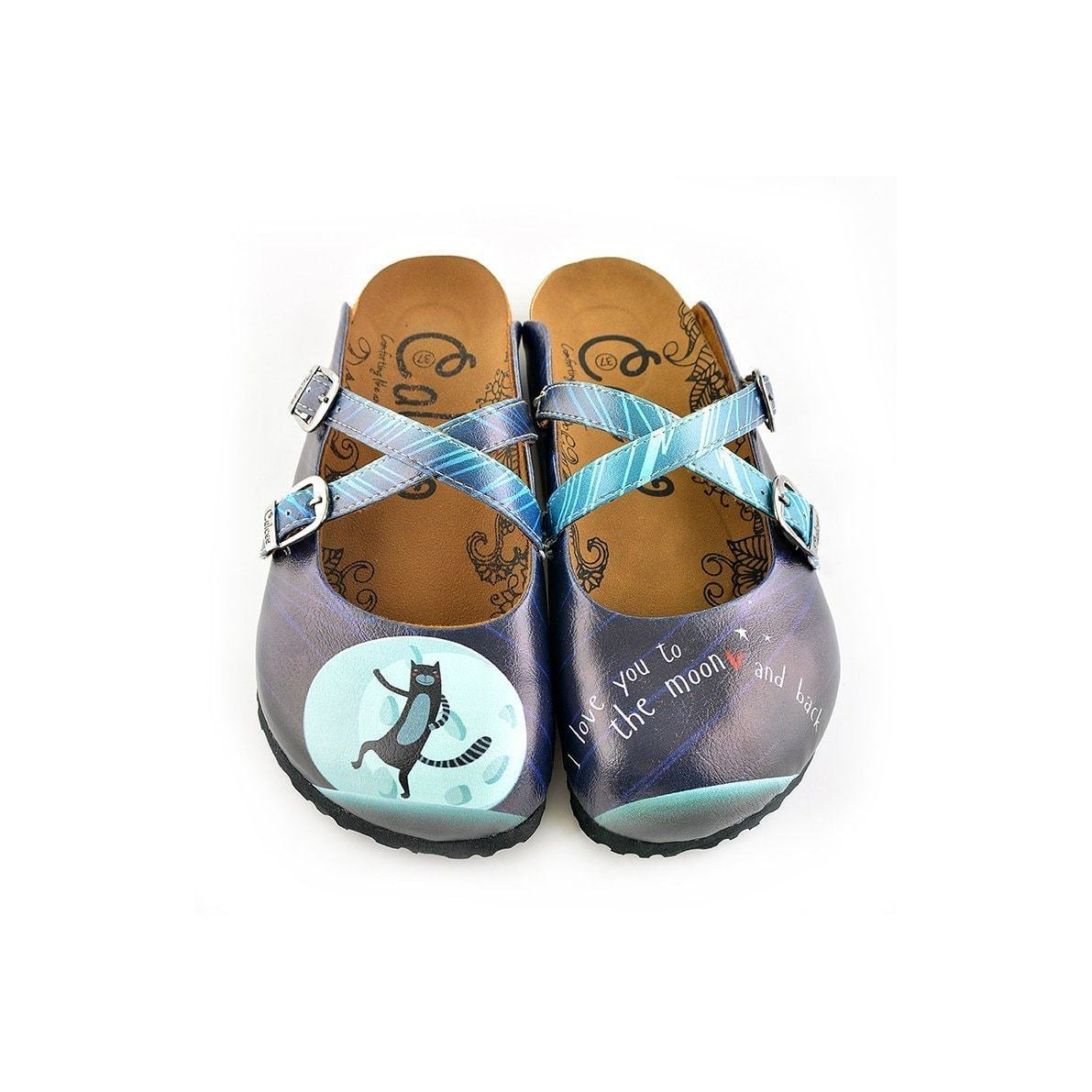"Blue ""I Love You To The Moon & Back Clogs WCAL138, Goby, CALCEO Clogs"