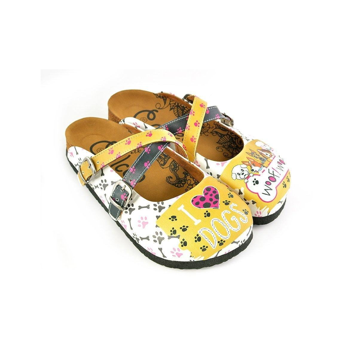 Yellow & White I Love Dogs Crisscross Clogs WCAL149