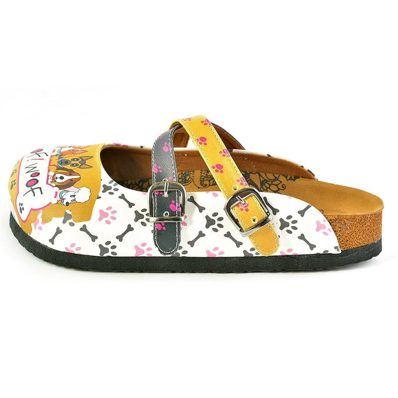 Yellow & White I Love Dogs Crisscross Clogs WCAL149 (737671118944)