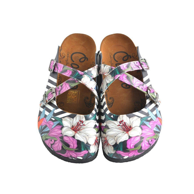 Black & Pink Floral Stripe Clogs WCAL153, Goby, CALCEO Clogs