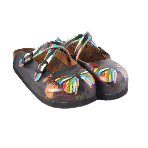 Charcoal & Red Butterfly Clogs WCAL158, Goby, CALCEO Clogs