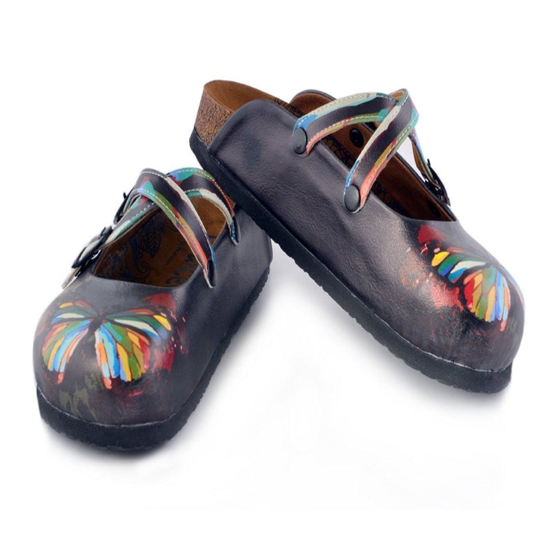 Charcoal & Red Butterfly Clogs WCAL158 (737670824032)
