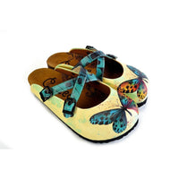 Yellow and Blue Colored Butterfly Patterned Clogs - WCAL178 (774938558560)