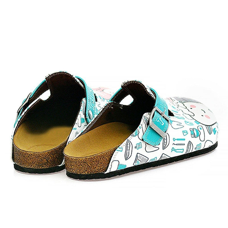 White & Aqua Dentist Clogs WCAL326 (737670758496)