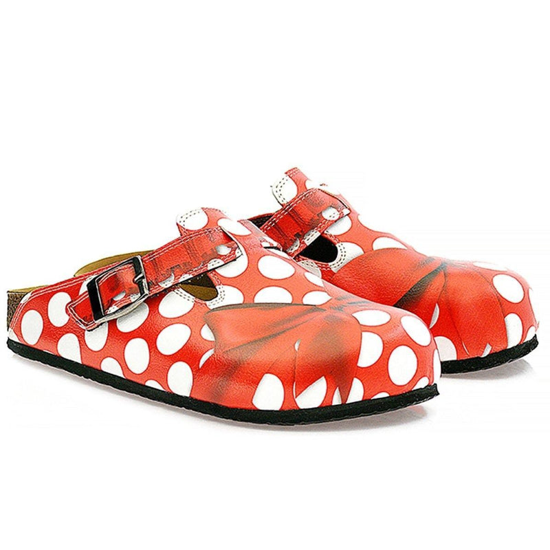 Red Polka Dot Bow Clogs WCAL328 (737670725728)