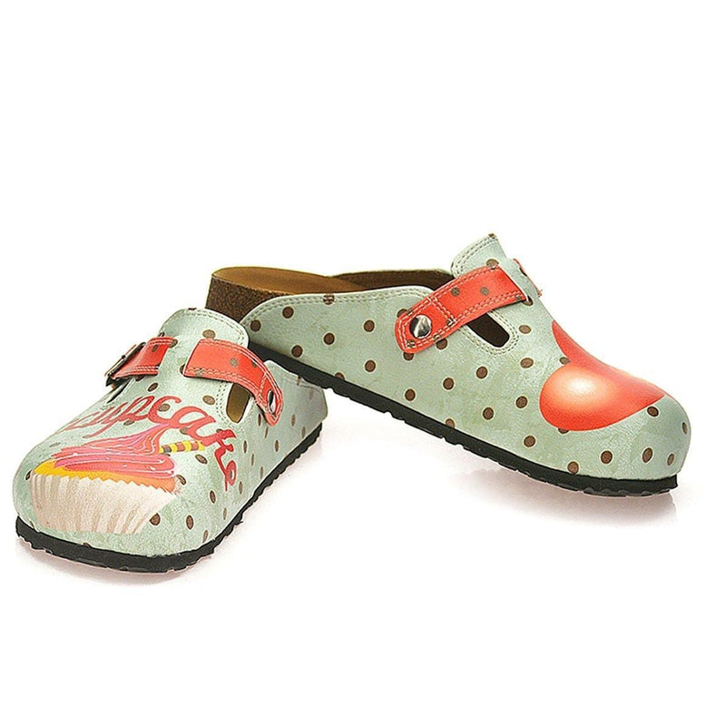 Light Blue & Red Cupcake Clogs WCAL331 (737670627424)