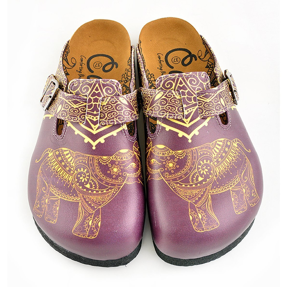 Purple & Yellow Elephant Clogs WCAL345