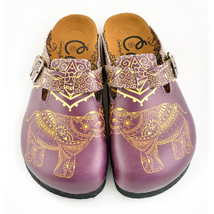 CALCEO Purple & Yellow Elephant Clogs WCAL345