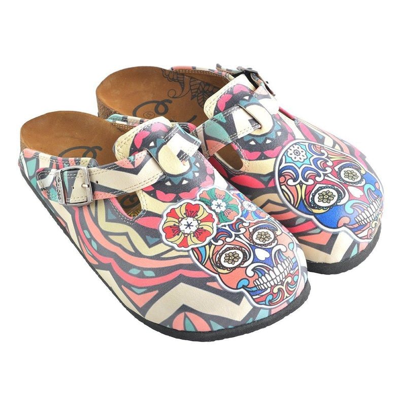 White & Pink Skull Clogs WCAL356 (737670037600)