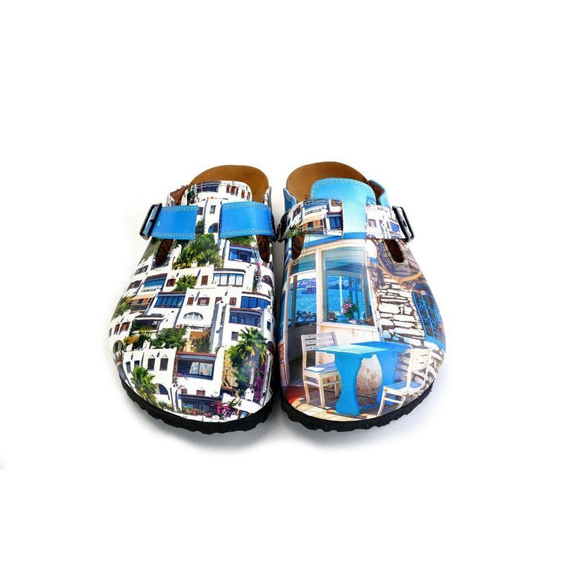 Blue and White Colored, Home Patterned Clogs - WCAL367 (774939705440)