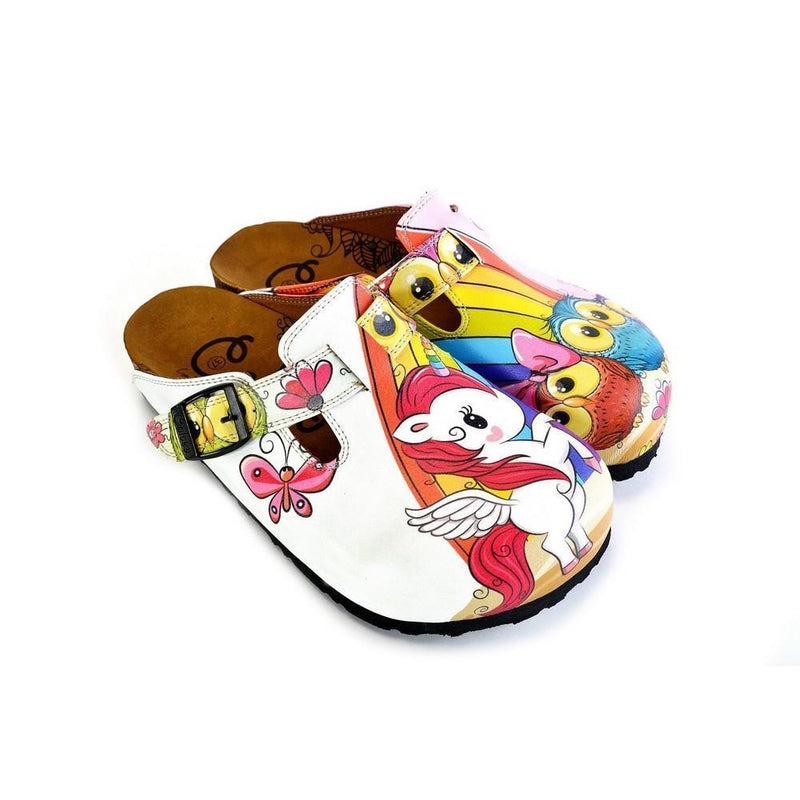 White and Pink Colored Unicorn Patterned, Colorful Cute Owl Patterned Clogs - WCAL369 (774940000352)