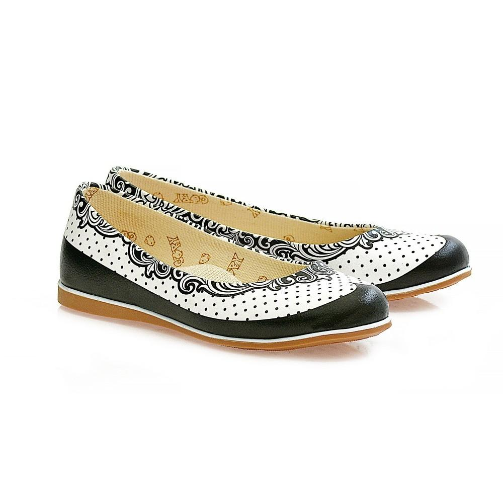 Black Dots and Pattern Ballerinas Shoes WCOC1102
