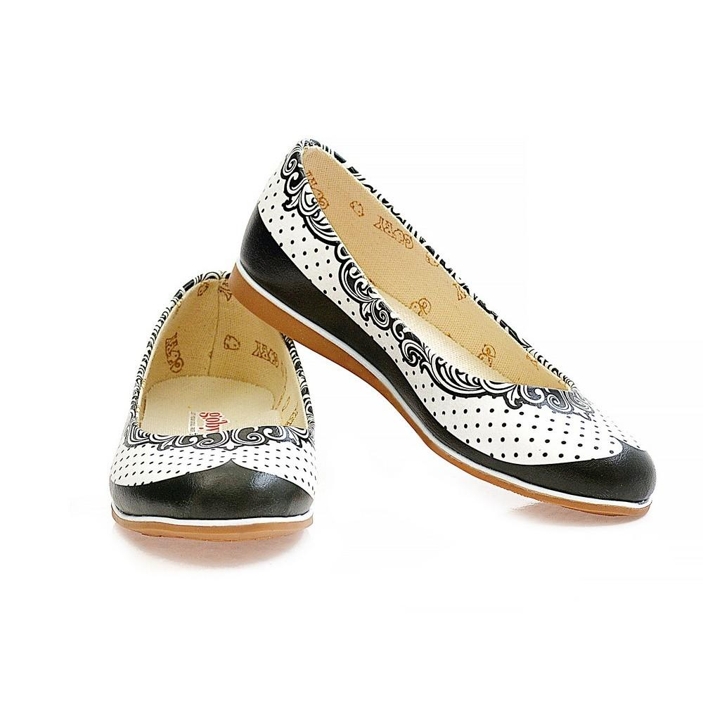GOBY Black Dots and Pattern Ballerinas Shoes WCOC1102