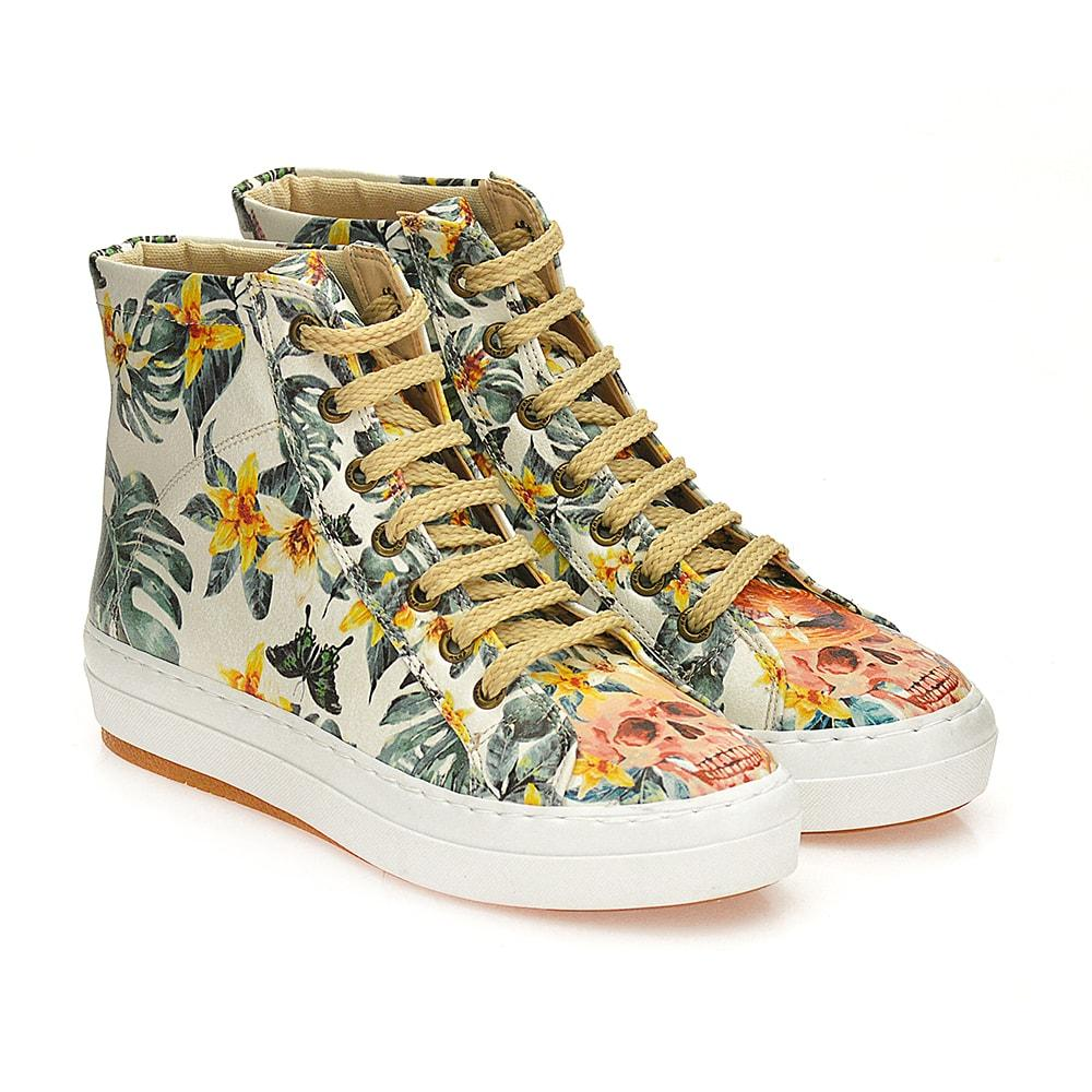 GOBY Skull and Flowers Sneaker Boots WCV2031