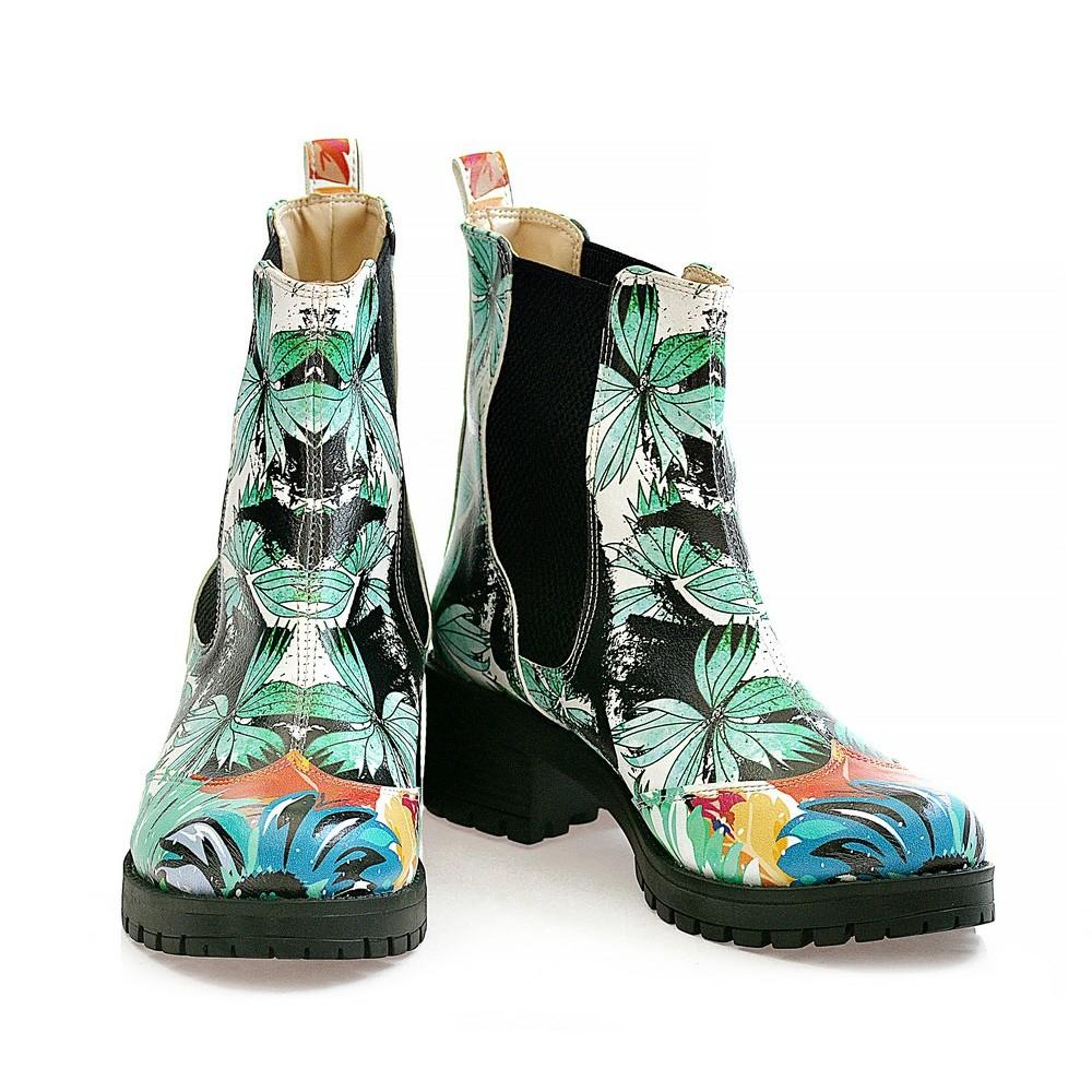 GOBY Turquoise Flowers Short Boots WLAS113