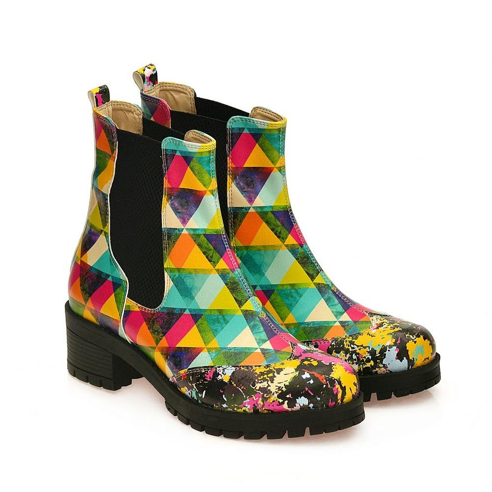 GOBY Colored Triangles Short Boots WLAS115