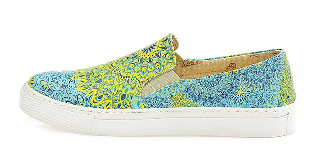 Blue and Yellow Pattern Slip on Sneakers Shoes WVN4038