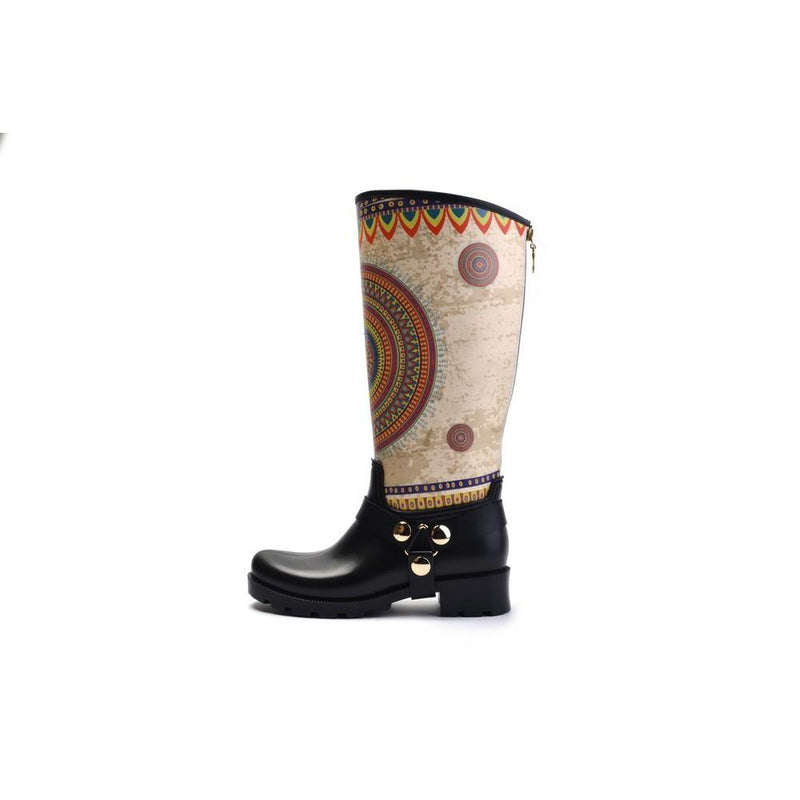 Colorful Mandala Long Rain Boots YB201 (1332766507104)