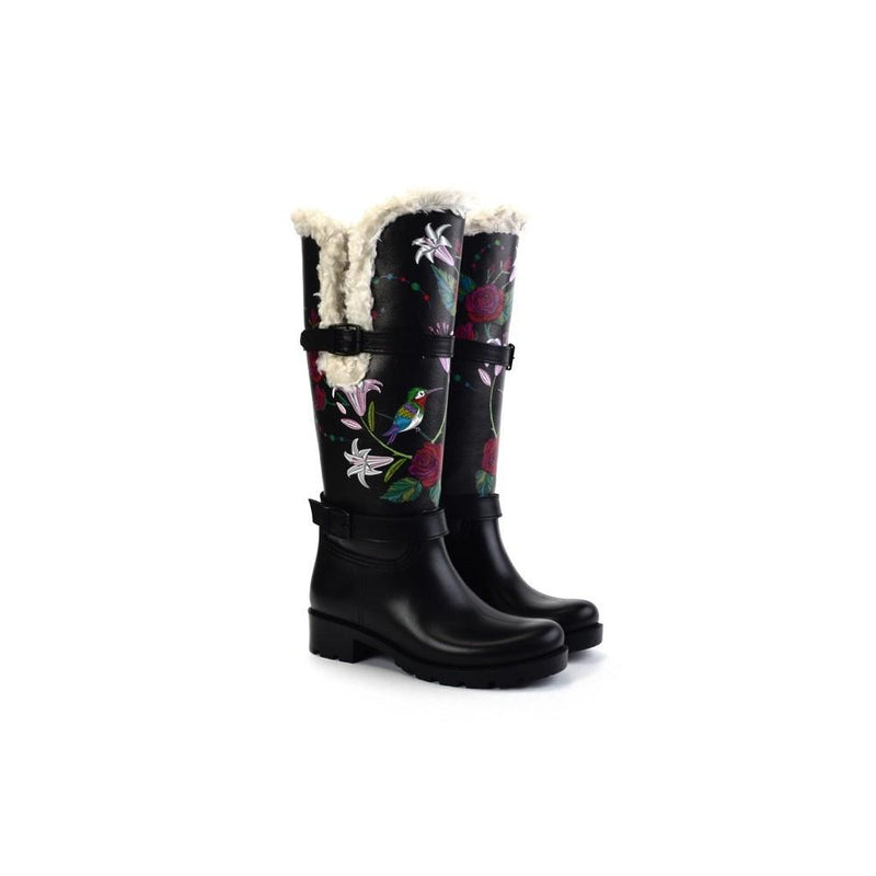 Rose and Birds Long Rain Boots YB401 (1332768014432)