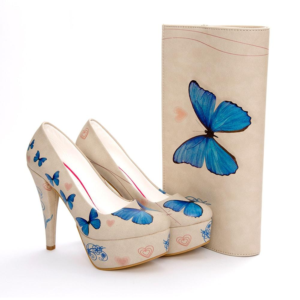 Butterfly Platform Shoes and Bag Set