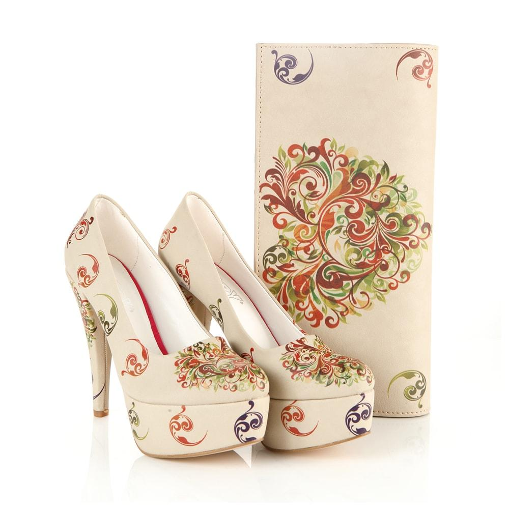 GOBY Anatolian Patterns Platform Shoes and Bag Set ST7014