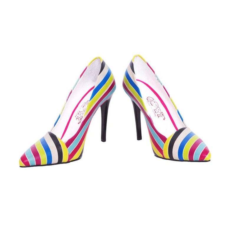 Colored Striped Heel Shoes STL4301 (506277134368)