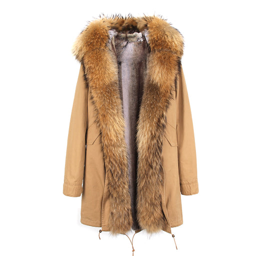 Khaki Military Parka with Luxurious Raccoon Fur Collar