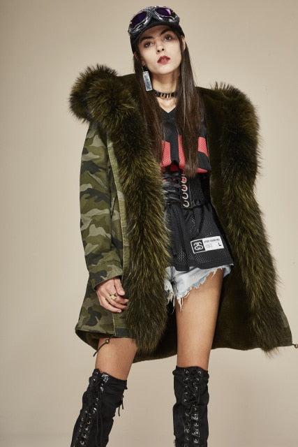 Camo Military Parka with Luxurious Raccoon Fur Collar