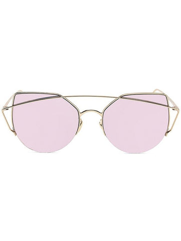 Chic Gold Crossbar Cat Eye Mirrored Sunglasses For Women