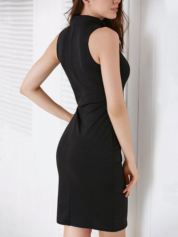 Alluring Scoop Neck Hollow Out Women's Black Dress