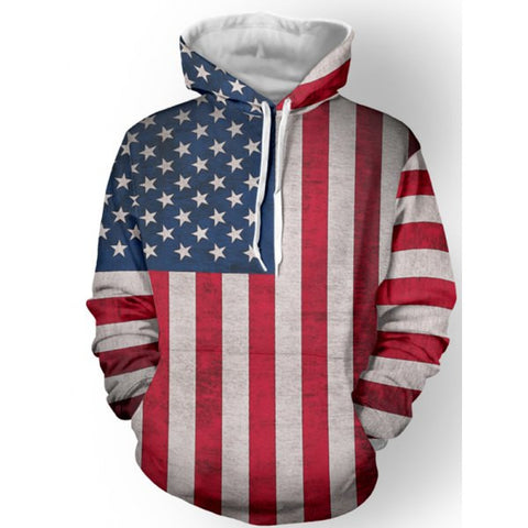 American Flag Long Sleeve Pullover Hoodie Sweatshirt Top